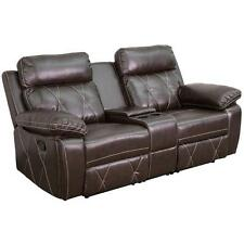 REEL COMFORT SERIES 2-SEAT RECLINING BROWN LEATHER THEATER SEATING UNIT