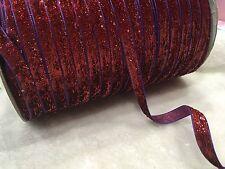 3 Meters Red 10mm Metallic Glitter Velvet Purple Edged Ribbon Embellishment Trim