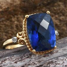 6.5Ct Ceylon Colour Quartz & Diamond 14K Y Gold/925 Ring Size P