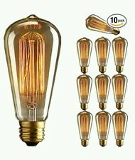 10 Pack E27 Base 60w Vintage Edison Light Bulb Dimmable ST64 Antique Filament...