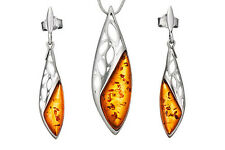 Solid 925 Sterling Silver & Baltic Amber Icicles Pendant Dangle Earrings Set