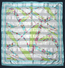 Glossy AKER SPORT Turkish Designer ABSTRACT Turquoise Silk Like Chiffon Scarf