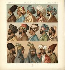 Muslims Middle Eastern men women Turbans c.1880 antique ethnic costume prints