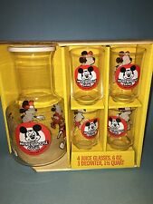 Walt Disney Libbey Mickey Mouse Club Juice Set - 4 Glasses & 1 Decanter