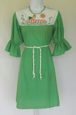 VINTAGE 1960s MOD VAL MODE SLEEP GOWN ROOSTER GREEN SMALL NYLON ACETATE WHITE