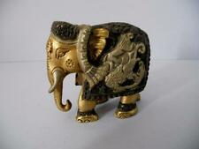Stunning Solid Brass Hand Painted Decorative Ceremonial Indian Elephant,