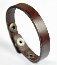 Plain Simply Cool Single Band Surfer Leather Charm Bracelet Wristband Cuff Brown