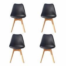 4 X (4X) (X4) BLACK Jamie Dining Chair Wood Retro Designer SOFT PAD FAUX LEATHER