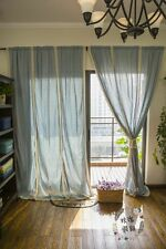 180x260cm French Country Style Cotton Blue Linen Crochet Lace Curtain