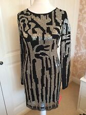 New Forever Unique dress black & silver beading size 6 UK long sleeves stretch
