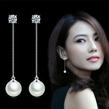 Womens 925 Sterling Silver Zircon Crystal Pearl Ear Chain Stud Dangle Earrings