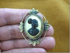 (CA10-26) RARE African American LADY black + ivory CAMEO Pin Pendant JEWELRY