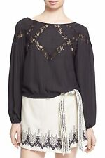 NWT FREE PEOPLE SzL GEOMETRY LESSONS LACE STRIPES LONG SLEEVE TOP BLACK $128.