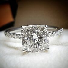 AUTHENTIC 1.40 Ct. Cushion Cut Diamond Engagement Ring Set F, VS2 GIA