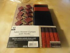 13 pc ASIA~ORIENTAL~FIJI fabric SHOWER CURTAIN~Burgundy Red Black Chinese HOOKS