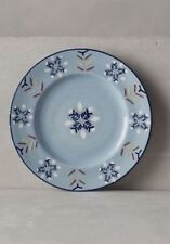 4 Anthropologie Orkney Side Plate Snowflake Holiday Christmas Winter Blue Plates