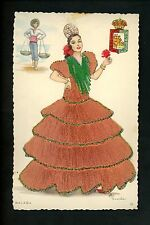 Embroidered clothing postcard Artist Elsi Gumier Spain Malaga woman fish #26