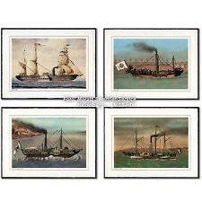 Farblithographien: 4 historische Schiffe, Europa