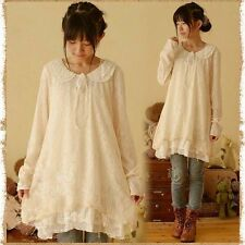 Kleid tunika spitze retro lolita lagenlook vintage doll kawaii japan Shabby