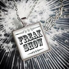 Retro Freak Show Circus Side Show Sign Glass Silver Oddity Pendant Necklace