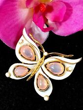 GORGEOUS 1960'S CROWN TRIFARI ROSE PINK CABOCHON WHITE ENAMEL BUTTERFLY BROOCH