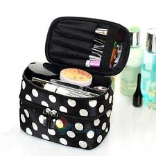 Womens Double Cosmetic Dot Beauty Case makeup Large Cosmetic Set Toiletry Bag #A