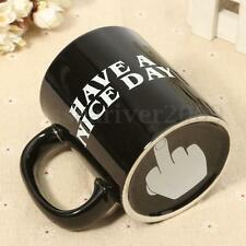 Have A Nice Day Middle Finger Ceramic Coffee Mug Cup Novelty Funny Gift Black