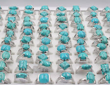wholesale jewelry lots 30pcs women's turquoise silver plated rings free shipping