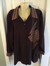 Koos of Course! 3X 4X womens faux suede brown beige button down shirt long