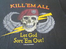KILL EM ALL LET GOD SORT EM OUT VINTAGE 80S SHIRT SCREEN STARS TAG HEAVY METAL