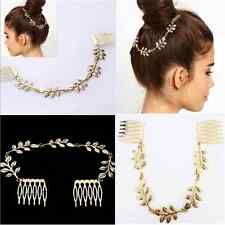 Vintage Women's Gold Metal Head Chain Leaves Comb Headband Headpiece Hair Band