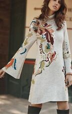 Anthropologie  Embroidered Petals Swing Dress  NWT L new size large
