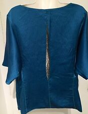 RACHEL ROY Silk Peacock Blue Black Lace Back Dolman S Boho Tunic Top 44 Bust XL