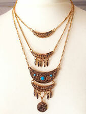 Free Spirit Bronze Gold Chain Turquoise Gypsy Hippy Bohemian People Necklace