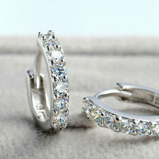 925 Sterling Silver Plated  Single Row Rhinestone Earring Hoop Huggie 1pair