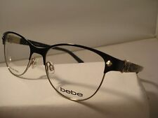 AUTH NEW BEBE EYEGLASSES 5069 ILLUMINATING JET BLACK LADIES METAL w/CASE