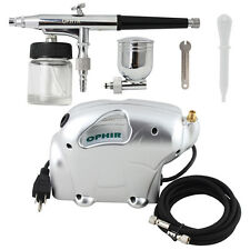OPHIR Pro 220V Elephant Air Compressor 2 Pot Dual Action Airbrush Gun Kit Tattoo