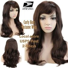 US Stock Costume Wigs Wigs  Medium Curly Brown/Auburn Mix Hair Lady Fancy Dress