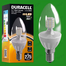 4x 3.7W Dimmable Duracell LED Clear Candle Instant On Light Bulb SES E14 Lamp