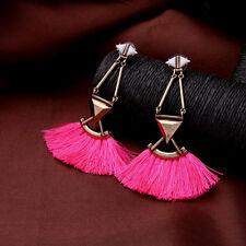 Boucles d`Oreilles Clous Doré Art Deco Triangle Pompon Tissu Rose XX 15