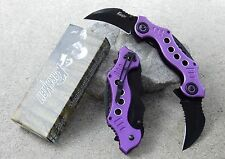 Purple Karambit Double Dual Blade Spring Assisted Folding Tactical Pocket Knife