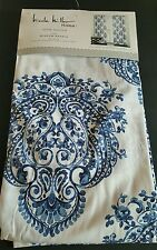 New 2 Nicole Miller Damask Medallion Blue Watercolors Window Curtain Panels 96