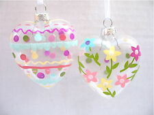 GISELA GRAHAM EASTER TREATS FLOWER /POLKA DOT GLASS HEART DECORATION X 2