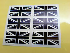 Drapeaux Union Jack Noir & Blanc Ensemble de 6 Go UK VOITURE BUMPER Stickers Autocollants 50mm