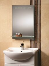 Genesis Bologna Bathroom Mirror 395 x 600 with LED Lights and Glass Lit Shelf