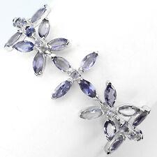 Sterling Silver 925 Genuine Natural Marquise Iolite Gem Floral Bracelet 7 Inch