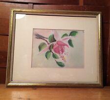 """Vintage Framed Matted Floral Flower Art Wall Home Decor Bathroom 11""""x9"""""""