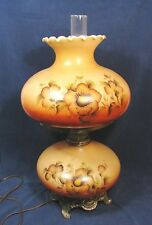 "VTG Victorian GWTW Hurricane Table Lamp Electric Milk Glass Floral 21.5"" Tall"