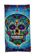 Bright & Colorful Day of the Dead Sugar Skull Beach Towel 34 X 64 Inch