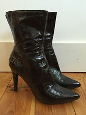 NINE WEST LADIES BURGUNDY PATENT LEATHER ANKLE BOOTS UK6.5